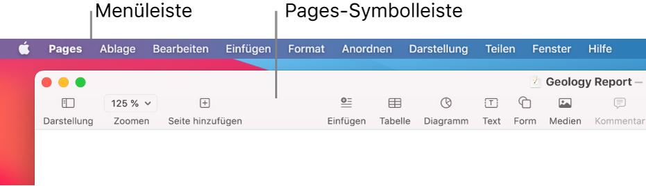 """Die Menüleiste mit dem Menü """"Apple"""" und dem Menü """"Pages"""" oben links und darunter die Pages-Symbolleiste mit Tasten für Darstellung und Zoomen oben links"""