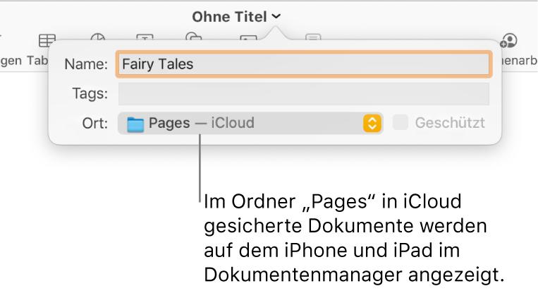"""Das Fenster """"Sichern"""" für ein Dokument mit Pages – iCloud im Einblendmenü """"Ort"""""""
