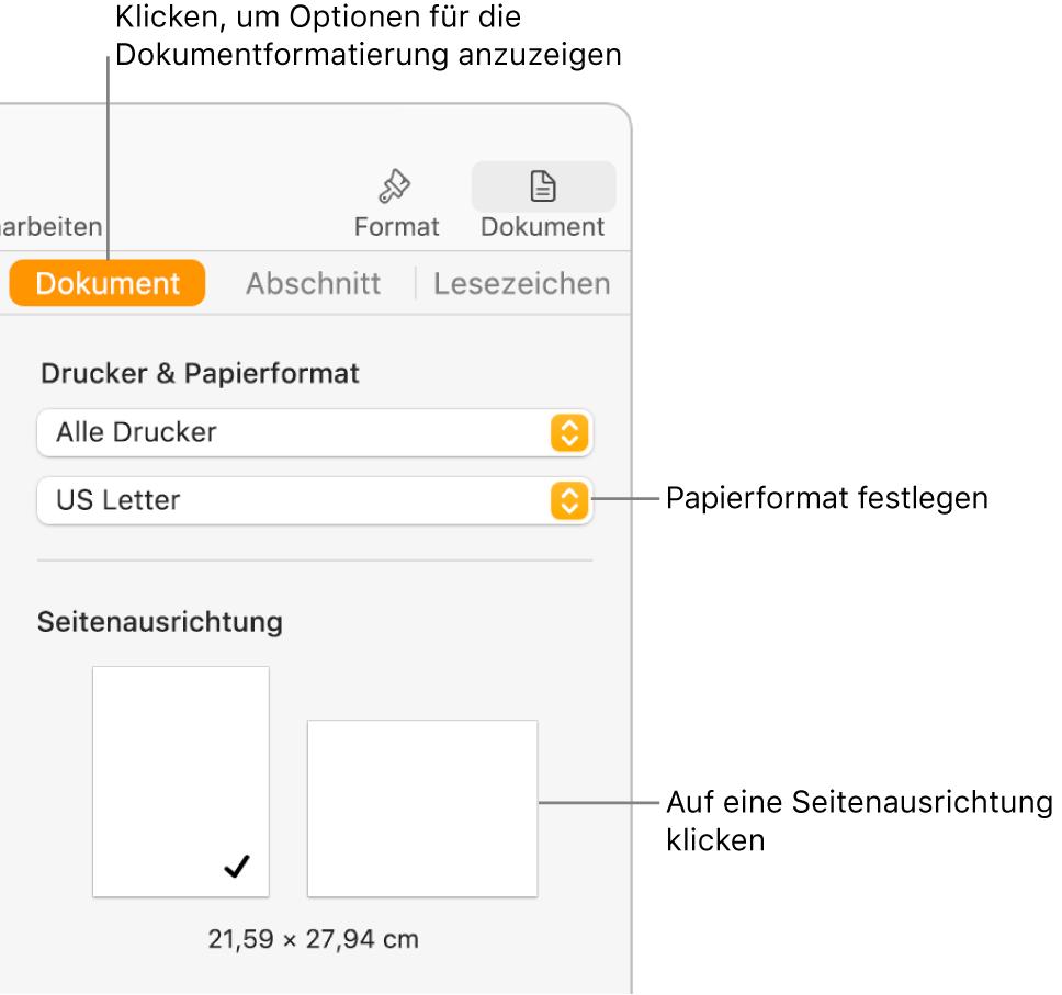 """Oben in der Seitenleiste """"Dokument"""" ist der Tab """"Dokument"""" ausgewählt. In der Seitenleiste befinden sich ein Einblendmenü, das auf das Papierformat eingestellt ist, und Tasten für die Seitenausrichtung im Hochformat und Querformat."""