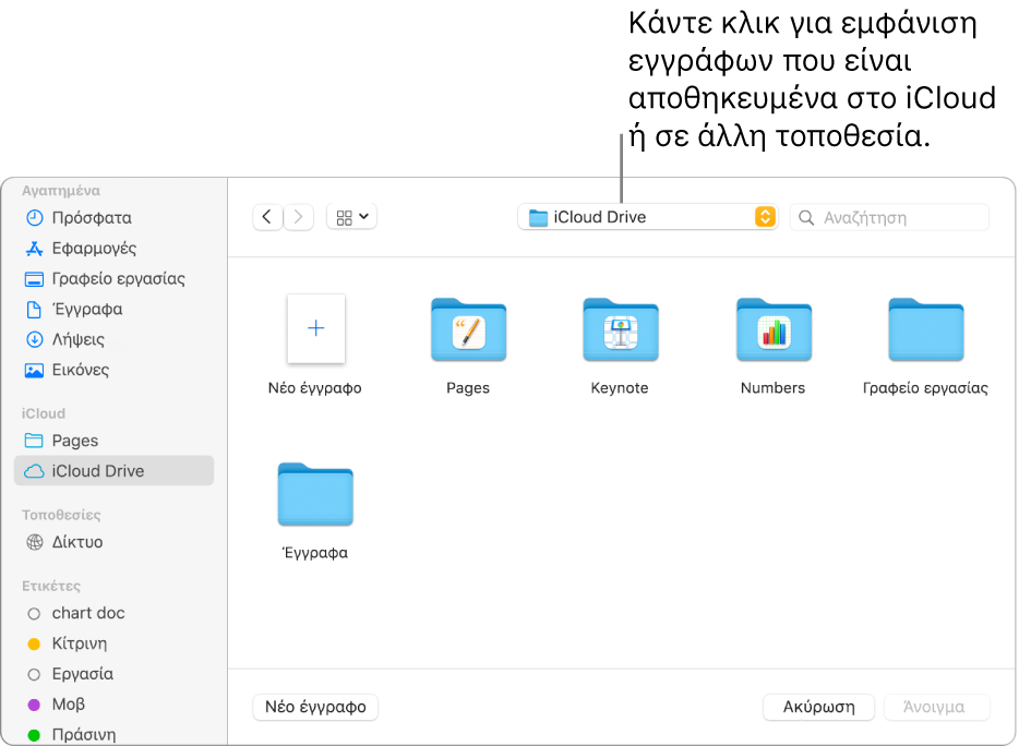 Το πλαίσιο διαλόγου «Άνοιγμα» με ανοιχτή την πλαϊνή στήλη στα αριστερά και επιλεγμένο το iCloud Drive στο αναδυόμενο μενού στο πάνω μέρος. Φάκελοι για το Keynote, το Numbers και το Pages εμφανίζονται στο πλαίσιο διαλόγου μαζί με το κουμπί «Νέο έγγραφο».