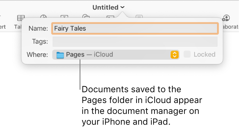 The Save dialog for a document with Pages — iCloud in the Where pop-up menu.