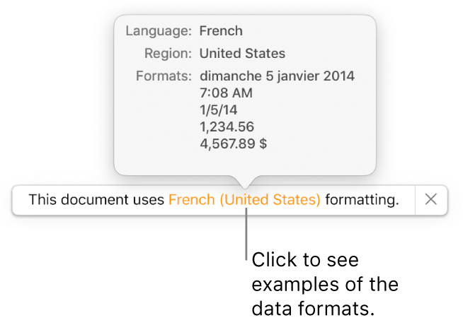 The notification of the different language and region settings, showing examples of formatting for that language and region.