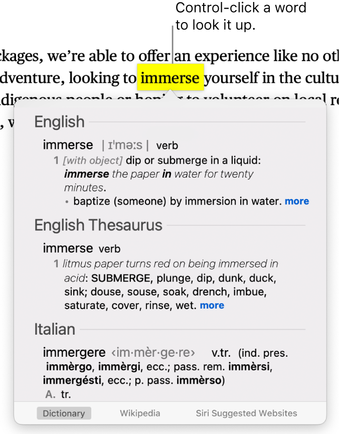 A paragraph with a word highlighted and a window showing its definition and a thesaurus entry. Buttons at the bottom of the window provide links to the dictionary, Wikipedia and Siri suggested websites.