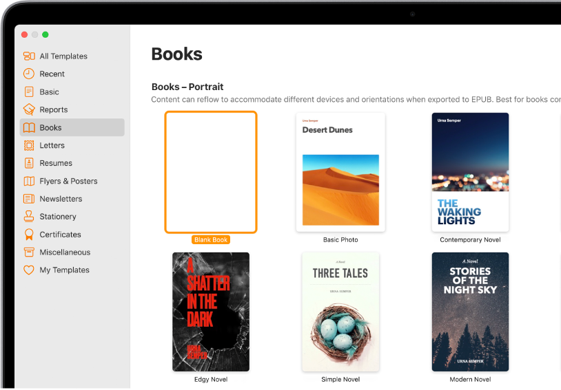 The template chooser with Books selected in the category list on the left and book templates in portrait orientation on the right.