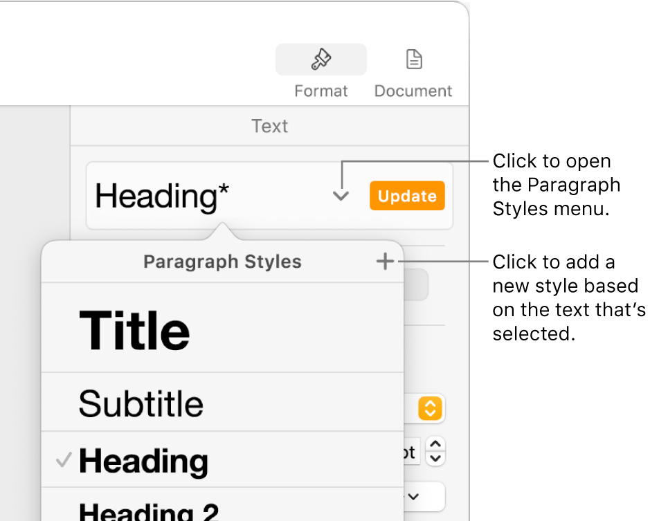 The Paragraph Styles menu, showing controls to add or change a style.