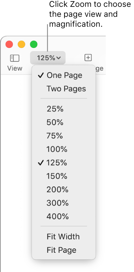 The Zoom pop-up menu with options to view one page and two pages at the top, percentages ranging from 25% to 400% below, and Fit Width and Fit Page at the bottom.
