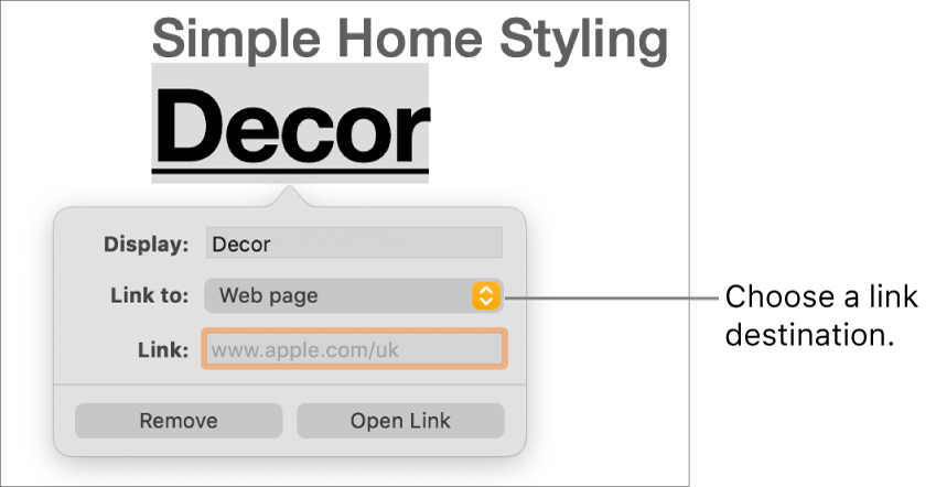 """The link editor controls with a Display field, """"Link to"""" pop-up menu (set to Web page) and Link field. The Remove button and Open Link button are at the bottom of the controls."""