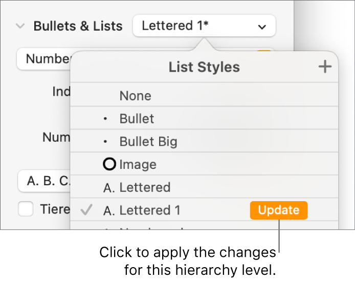The List Styles pop-up menu with an Update button next to the name of the new style.