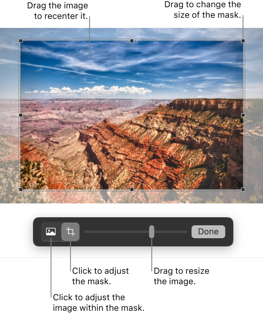 Mask controls over a photo.