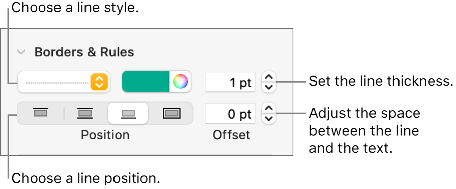Controls to change the line style, thickness, position, and color.