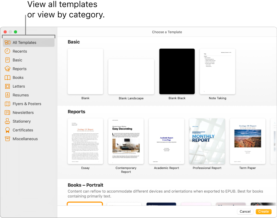 The template chooser. A sidebar on the left lists template categories you can click to filter options. On the right are thumbnails of predesigned templates arranged in rows by category, starting with Basic at the top and followed by Reports and Books—Portrait. The Language and Region pop-up menu is in the bottom-left corner, and Cancel and Create buttons are in the bottom-right corner.