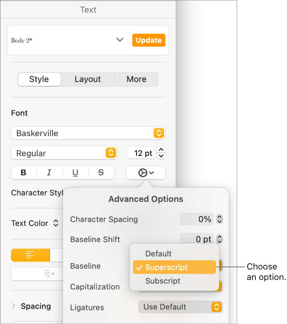 The Advanced Options menu with the Baseline pop-up menu open and showing Default, Superscript, and Subscript menu items.
