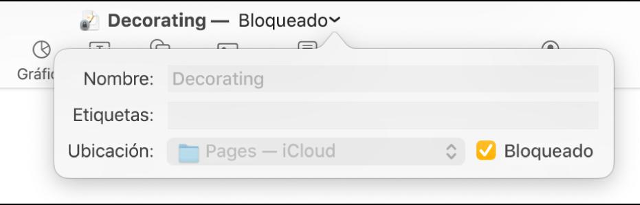 Ventana emergente para bloquear o desbloquear un documento.