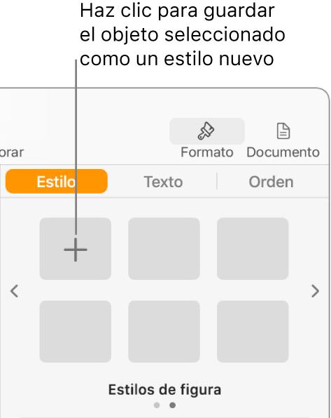 """La pestaña Estilo de la barra lateral Formato, con el botón """"Crear estilo"""" en la esquina superior izquierda y cinco marcadores de posición vacíos de estilo."""