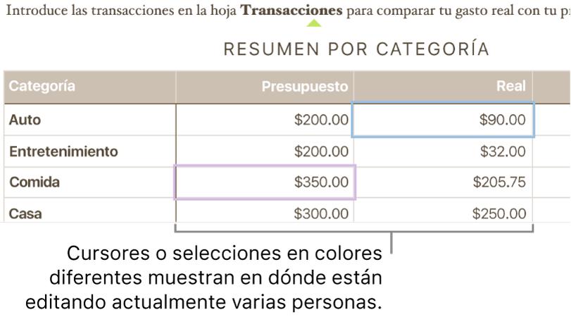Los cursores y las selecciones de colores diferentes muestran dónde están editando las otras personas.