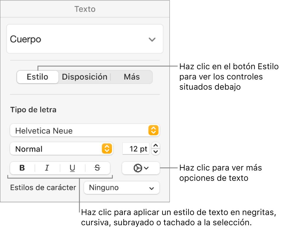 Los controles de Estilo de la barra lateral Formato con texto que indica los botones Negrita, Cursiva, Subrayado y Tachado.