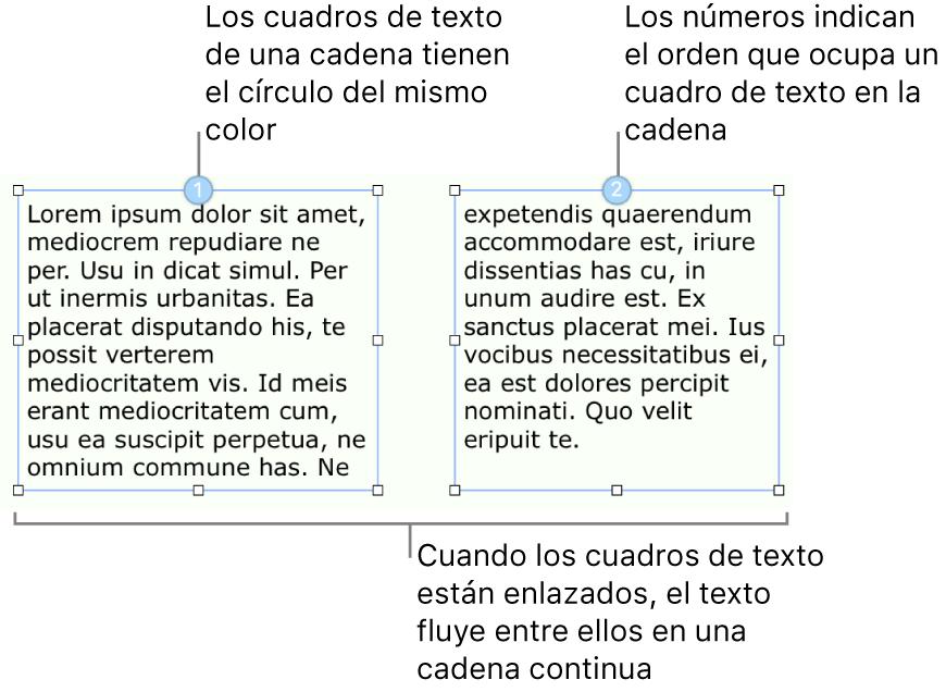 Dos cuadros de texto con círculos azules en la parte superior y los números 1 y 2 dentro de los círculos.