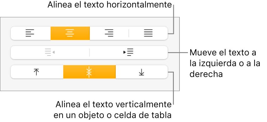 Sección Alineación del inspector de formato con botones para alinear el texto horizontal y verticalmente y botones para mover el texto a la izquierda o a la derecha.