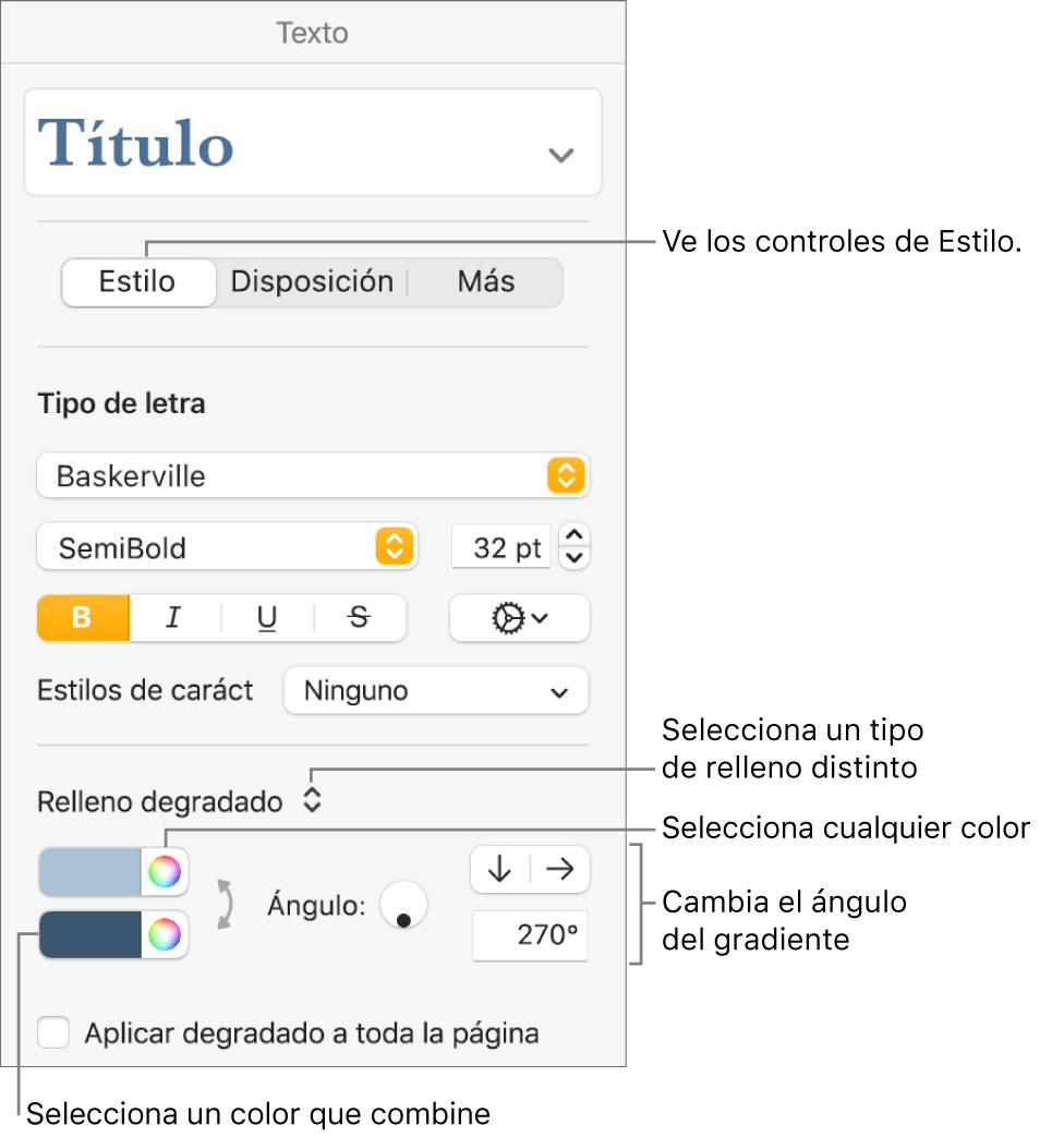 Controles para seleccionar colores prediseñados o cualquier color.