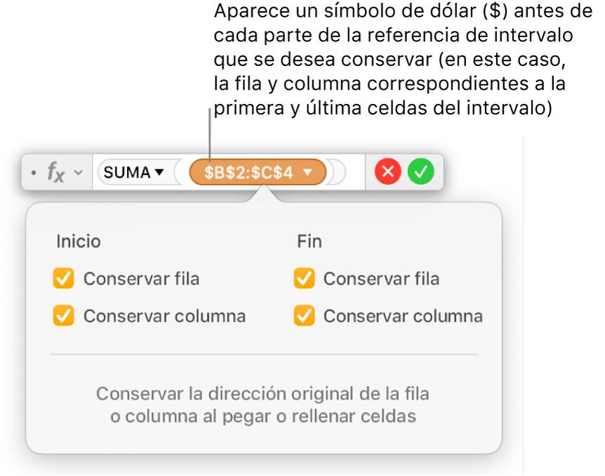 Editor de fórmulas con las referencias de fila y columna conservadas.