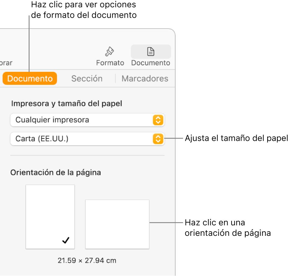 La barra lateral Documento con la pestaña Documento seleccionada en la parte superior de la barra lateral. En la barra lateral hay un menú desplegable para ajustar el tamaño del papel, y botones para la orientación de página vertical u horizontal.