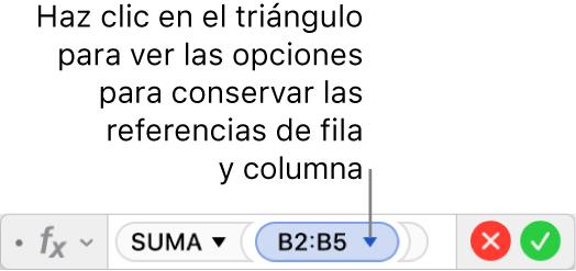 El editor de fórmulas mostrando cómo conservar la fila y la columna de una referencia de intervalo.
