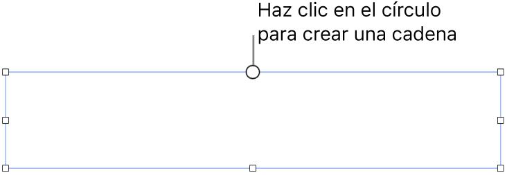 Un cuadro de texto vacío con un círculo blanco en la parte superior y manijas de redimensionamiento en las esquinas, en ambos lados y en la parte inferior.