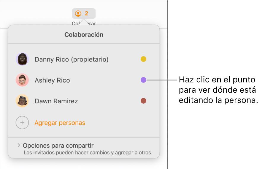 La lista de participantes con tres participantes y un punto de color diferente a la derecha de cada nombre.
