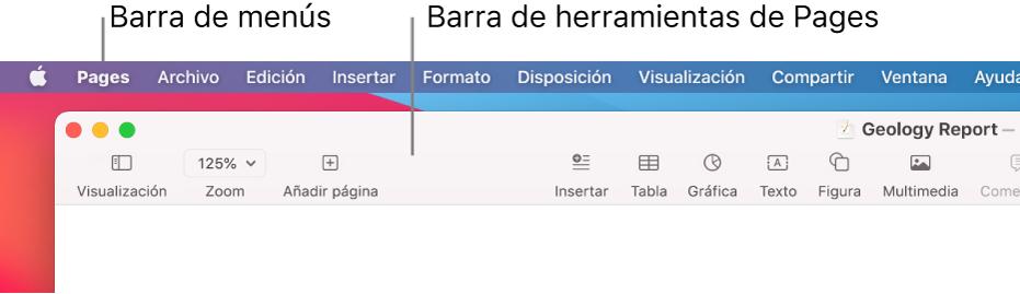 La barra de menús con el menú Apple y el menú Pages en la esquina superior izquierda y, debajo, la barra de herramientas de Pages con los botones de Visualización y Zoom en la esquina superior izquierda.