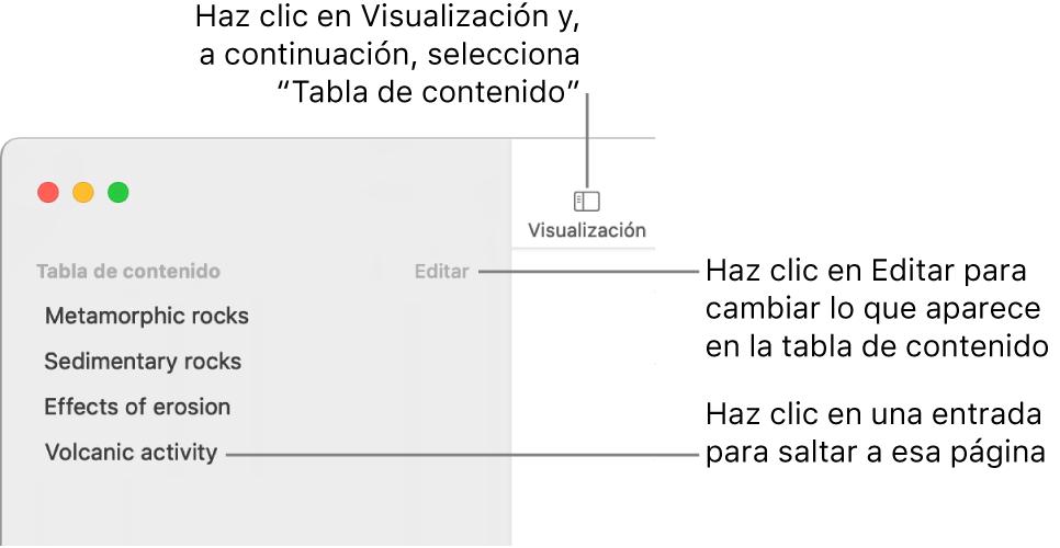 La tabla de contenido situada en el lado izquierdo de la ventana de Pages con un botón Editar en la esquina superior derecha de la barra lateral y entradas de la tabla de contenido en una lista. El botón Visualización está en la esquina superior izquierda de la barra de herramientas de Pages, encima de la barra lateral.