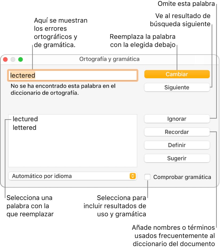 """La ventana """"Ortografía y gramática""""."""