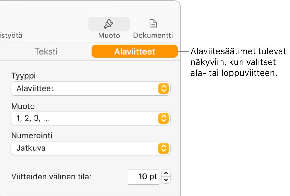 Alaviitteet-osio, jossa näkyy ponnahdusvalikot Tyyppi, Muoto, Numerointi ja Viitteiden välinen tila.