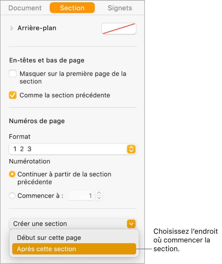 Barre latérale Document avec l'onglet Section sélectionné. Près du bas de la barre latérale se trouvent les menus contextuels «La section commence à» et «Créer une section».