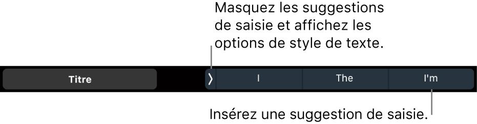 La TouchBar du MacBookPro avec les commandes pour choisir un style de texte et masquer ou insérer les suggestions de frappe.