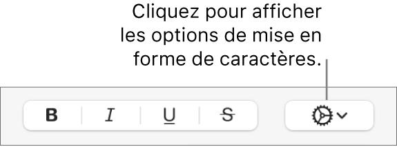 Le menu contextuel Options avancées à droite des boutons Gras, Italique, Souligné et Barré.