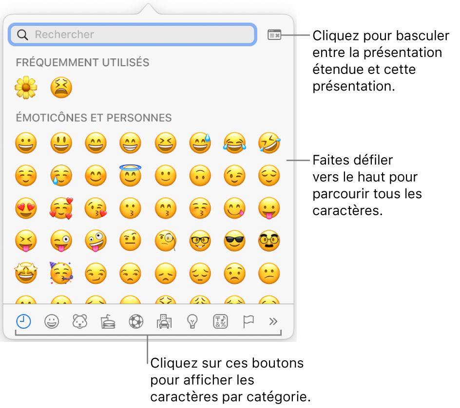 Le menu contextuel Caractères spéciaux affichant des émoticônes, les boutons de différents types de symboles en bas de la fenêtre et la légende d'un bouton pour afficher toute la fenêtre des caractères.