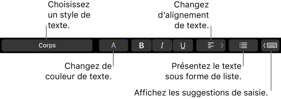 La TouchBar du MacBookPro avec les commandes permettant de choisir un style de texte, de modifier la couleur du texte, de modifier son alignement, de le convertir en liste et d'afficher les suggestions de frappe.