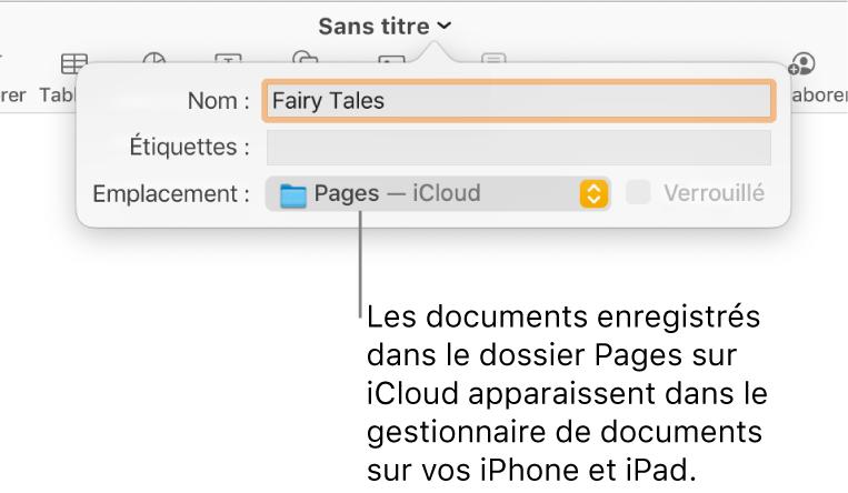 Zone de dialogue d'enregistrement d'un document avec Pages (iCloud dans le menu contextuel Emplacement).