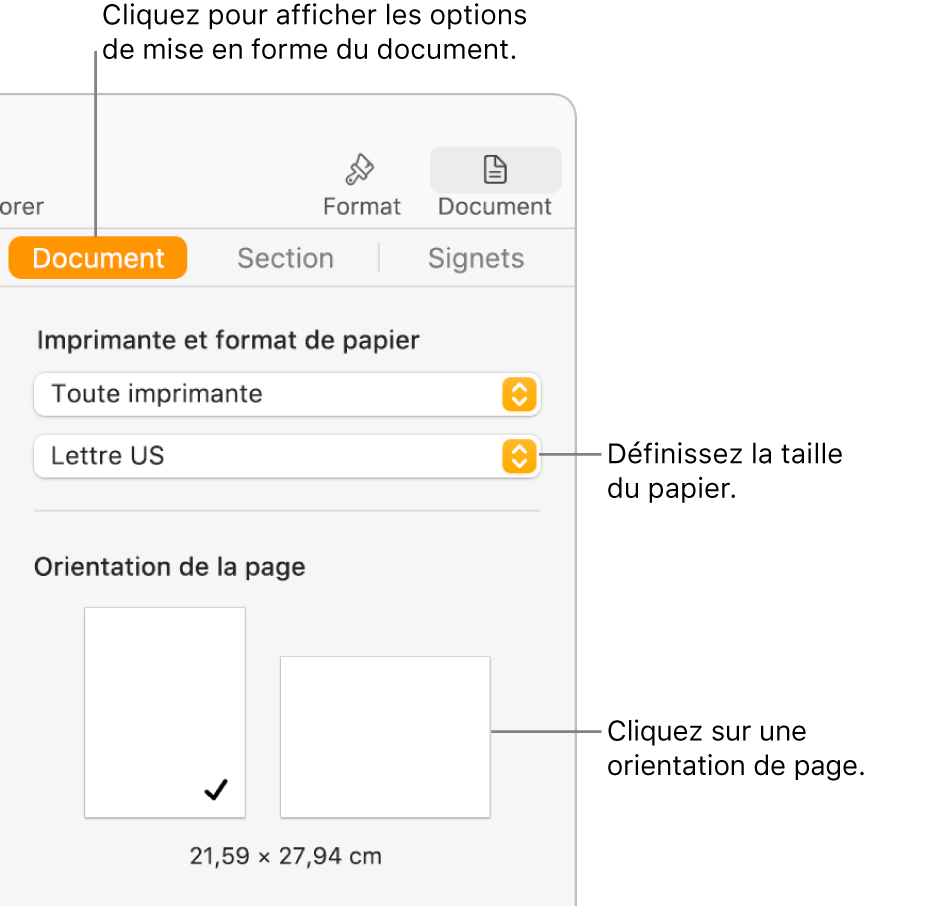 La barre latérale Document avec l'onglet Document sélectionné en haut de la barre latérale. La barre latérale contient un menu local permettant de définir la taille du papier ainsi que des boutons pour l'orientation portrait et paysage de la page.