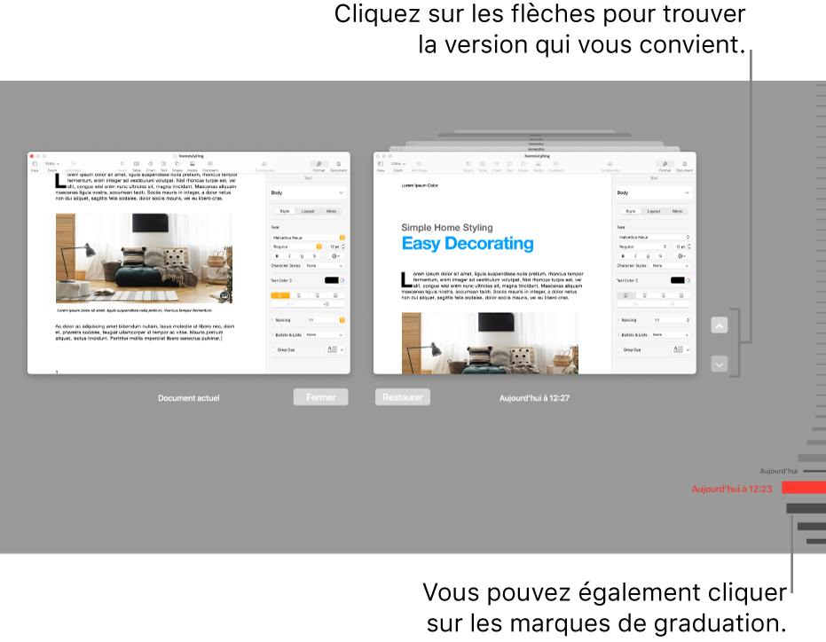 La timeline des versions avec le document actuel à gauche et une version récente à droite.