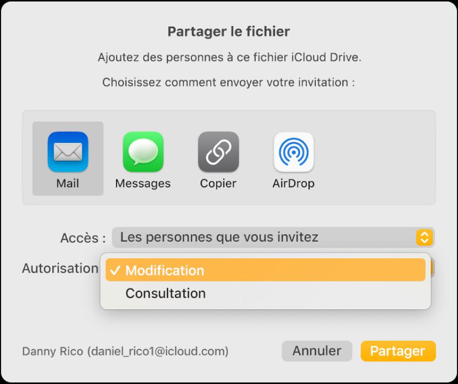 La zone de dialogue de collaboration avec le menu local Autorisation ouvert et l'option «Peut modifier» sélectionnée.