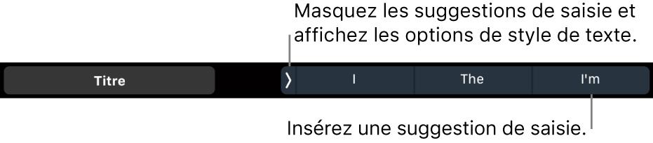 La TouchBar d'un MacBookPro présentant les commandes qui permettent de choisir un style de texte, de masquer et d'insérer des suggestions de saisie.