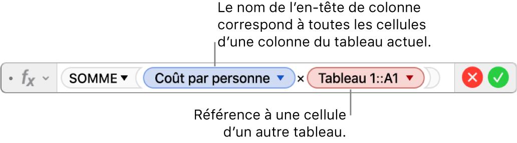 L'éditeur de formules présentant une formule faisant référence à une colonne d'un tableau et à une cellule d'un autre tableau.