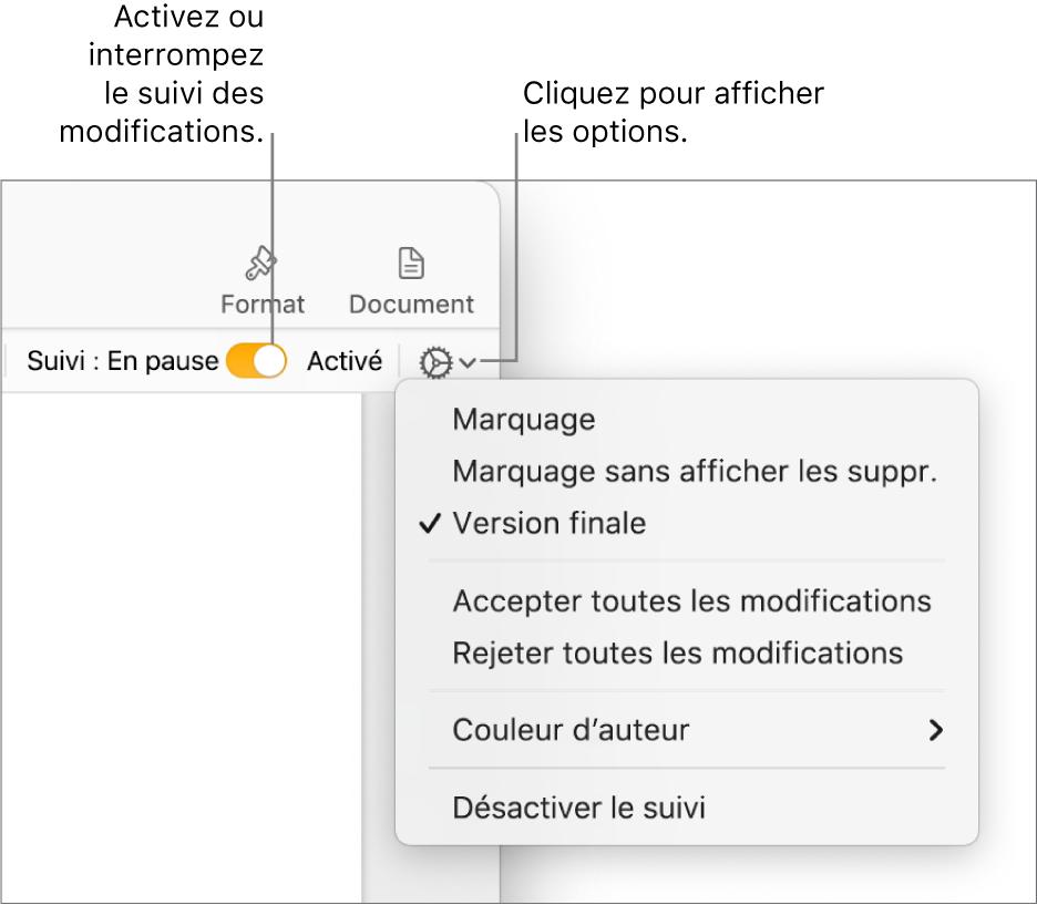 Le menu des options de suivi, avec l'option Désactiver le suivi en bas, ainsi que des légendes traitant des boutons de suivi Activé et En pause.