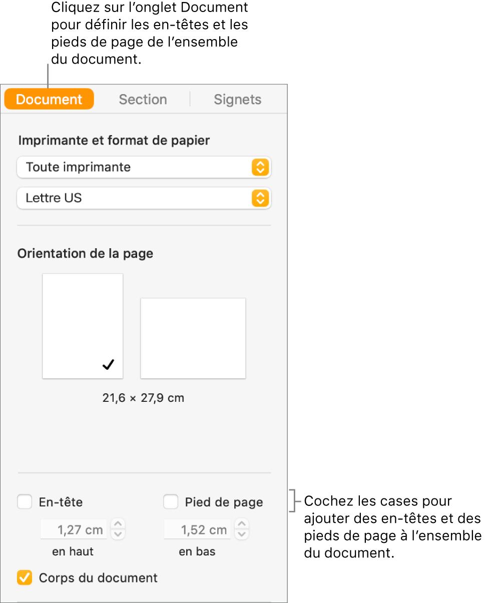 La barre latérale Document avec l'onglet Document sélectionné en haut de la barre latérale. Sous les cases En-tête et «Pied de page» se trouvent des flèches permettant de modifier la distance entre les en-têtes et pieds de page et le haut et le bas de la page.