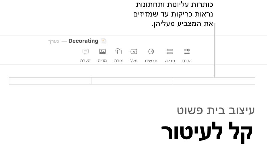 שלושה שדות כותרת עליונה מעל הכותרת של המסמך.