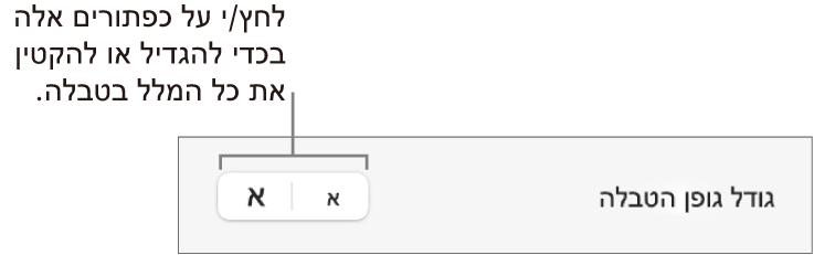 כלי בקרה לשינוי הגודל של כל המלל בטבלה.