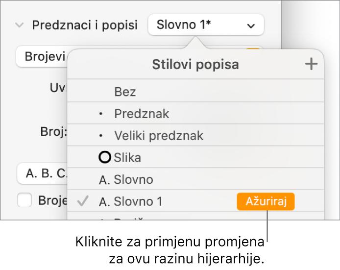 Skočni izbornik Stilovi popisa s tipkom Ažuriraj pokraj naziva novog stila.