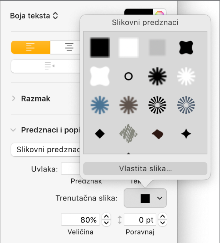 Skočni izbornik Grafičke oznake slike.