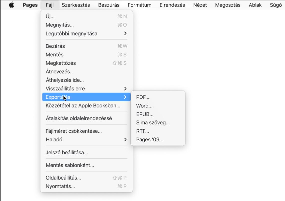 A Fájl menü a kijelölt Exportálás almenüvel, amelyen a PDF, a Word, az egyszerű szöveges, a formázott szöveges, az EPUB és a Pages '09 formátumba történő exportálási lehetőségek láthatók.